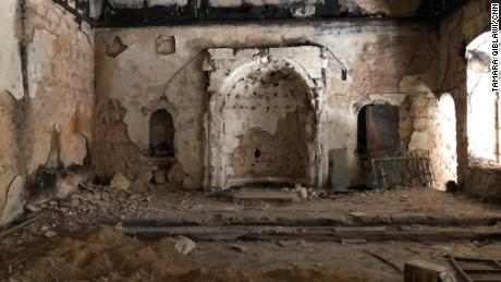 A burned-out church converted into an office by one of Eastern Ghouta's rebel groups.