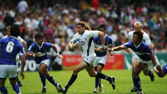He also made 24 appearances in the World Rugby Sevens Series, and is pictured here against Chinese Taipei in Hong Kong.