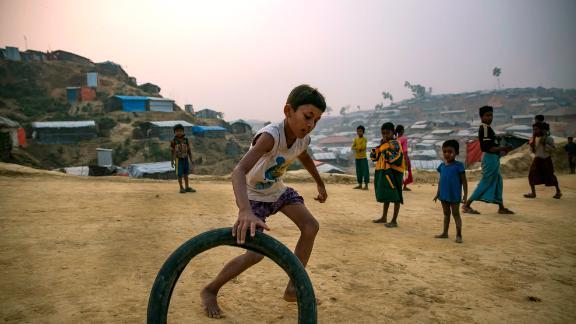 Rohingya refugee children play in Balukhali camp in Cox