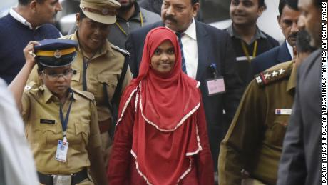 Hadiya (center) arrives at an earlier Supreme Court hearing on November 27, 2017, in New Delhi, India.