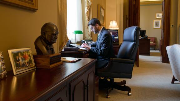 Ryan sits in his office on Capitol Hill in 2015.