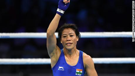 India's Mary Kom reacts after winning against Sri Lanka's Anusha Dilrukshi Koddithuwakku in the women's 45-48kg category semi-final boxing match during their 2018 Gold Coast Commonwealth Games at the Oxenford Studios venue in Gold Coast on April 11, 2018. / AFP PHOTO / YE AUNG THU        (Photo credit should read YE AUNG THU/AFP/Getty Images)