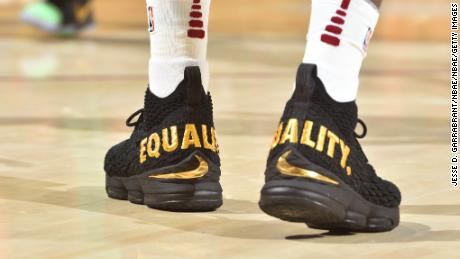 The sneakers of LeBron James #23 of the Cleveland Cavaliers during the game against the Boston Celtics on October 17, 2017 at Quicken Loans Arena in Cleveland, Ohio.
