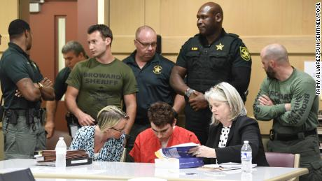 Nikolas Cruz, charged with murdering 17 people, appears in court on April 11.