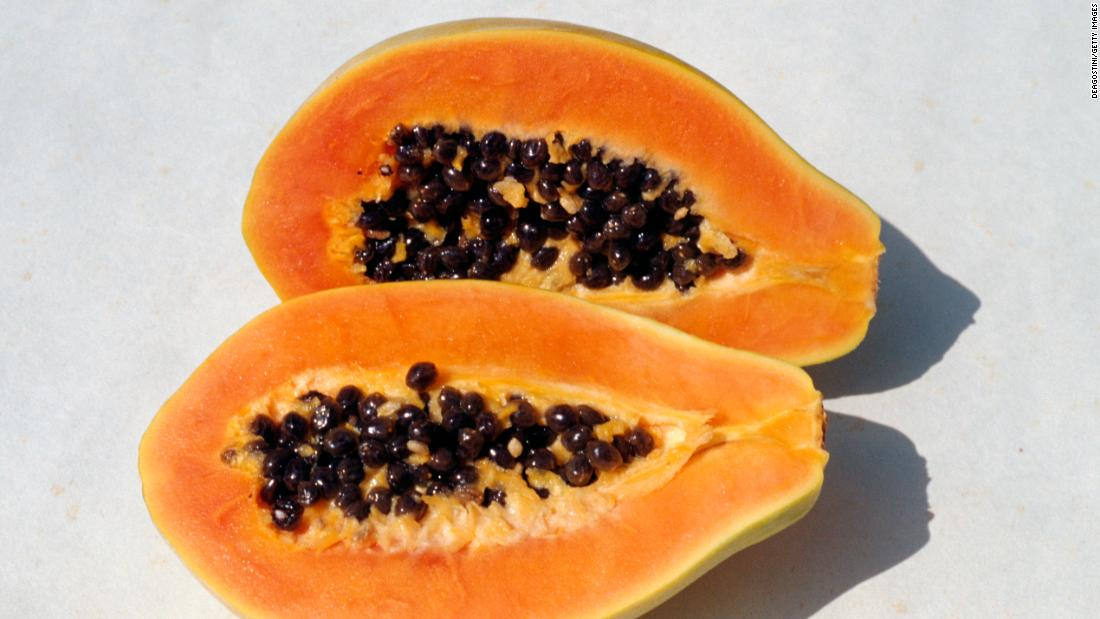 Papayas made their way up to sixth place. The Environmental Working Group notes that the majority of Hawaiian papaya is genetically modified. They suggest that those who wish to avoid genetically altered foods buy organic papaya.
