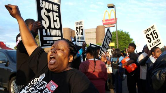 Dunetra Merritt protests for higher wages in Memphis, Tennessee. Some Fight for $15 activists say their struggle is linked to the civil rights movement.
