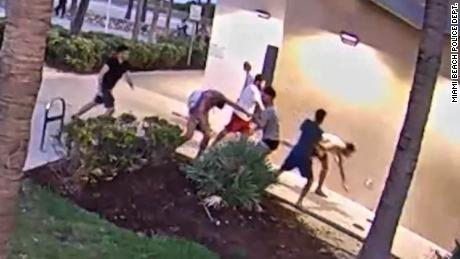 Miami Beach Police Department released surveillance video of the beating after the city's annual gay pride parade.