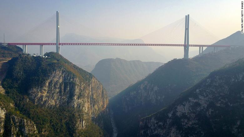 This picture taken on December 28, 2016 shows the Beipanjiang Bridge, near Bijie in southwest China's Guizhou province. 
