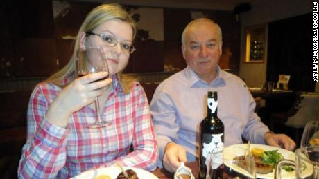 Former Russian spy Sergei Skripal and his daughter, Yulia Skripal, at a restaurant in the English city of Salisbury.