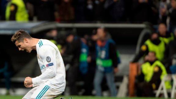 Real Madrid's Cristiano Ronaldo celebrates the club's progression to the Champions League semis.