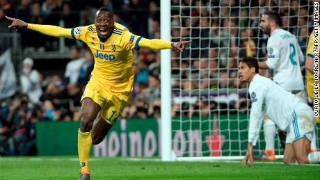 Juventus midfielder Blaise Matuidi celebrates his goal -- Juventus' third of the night -- during the tie.