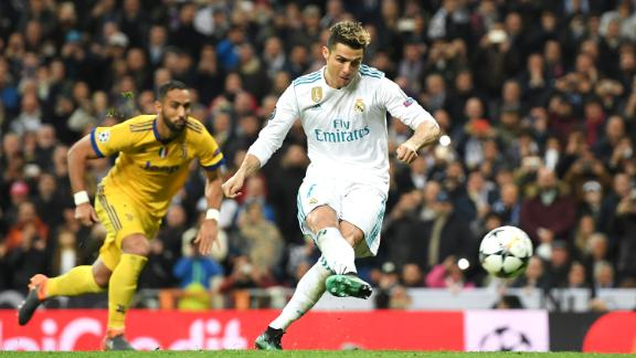 Real Madrid's Cristiano Ronaldo scores a penalty against Juventus in the second leg of the two sides' semi-final match-up.