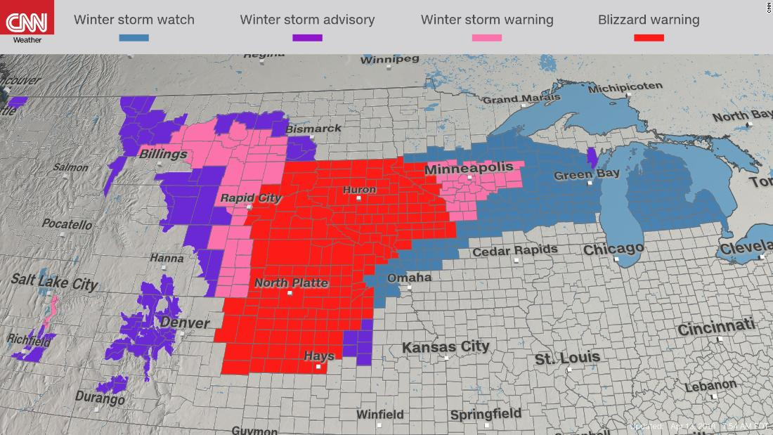 blizzard warnings are in place from south dakota to kansas where a foot or more of snow and winds of 40 to 50 mph is forecast for friday
