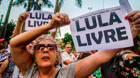 Supporters of former Brazilian President Luiz Inacio Lula da Silva demonstrate in Sao Paulo, Brazil, on Wednesday.