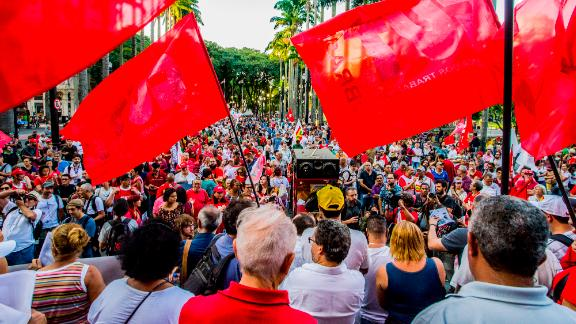 Supporters of Luiz Inacio Lula da Silva rally in Sao Paulo, Brazil, on Wednesday.