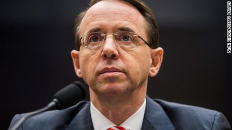 WASHINGTON, DC - DECEMBER 13: U.S. Deputy Attorney General Rod Rosenstein testifies during a a House Judiciary Committee hearing on December 13, 2017 in Washington, DC. (Photo by Zach Gibson/Getty Images)