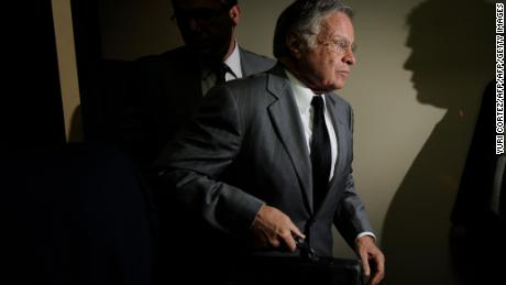 Former Costa Rican president and former OAS Secretary General Miguel Angel Rodriguez at the court during the start of a trial against him on April 14, 2010 in Guadalupe, outskirts of San Jose. Rodriguez is accused of taking money from French telecommunications giant Alcatel, among others, while he was president(1998-2002). The trial was suspended until next Monday because one of the accused  is ill. AFP  PHOTO/ Yuri CORTEZ (Photo credit should read YURI CORTEZ/AFP/Getty Images)