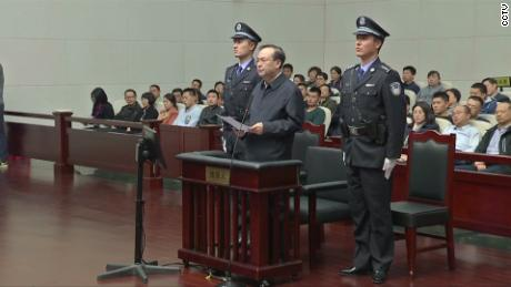 Former Chongqing Party Secretary Sun Zhengcai at the First Intermediate People's Court of Tianjin Municipality on Thursday April 12.