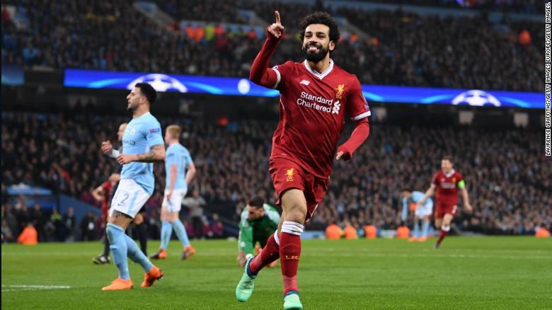 Mohamed Salah Celebrates After Scoring Liverpools First Goal During The Champions League