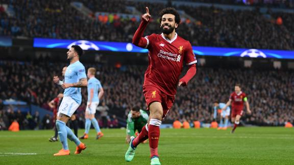 Mohamed Salah celebrates after scoring Liverpool's first goal during the Champions League quarterfinal second Leg against Manchester City.
