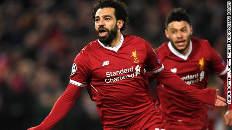 LIVERPOOL, ENGLAND - APRIL 04:  Mohamed Salah of Liverpool celebrates after scoring his sides first goal during the UEFA Champions League Quarter Final Leg One match between Liverpool and Manchester City at Anfield on April 4, 2018 in Liverpool, England.  (Photo by Shaun Botterill/Getty Images)
