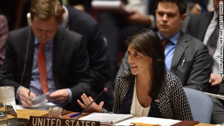 TOPSHOT - US ambassador to the United Nations, Nikki Haley speaks during a UN Security Council meeting, at United Nations Headquarters in New York, on April 13, 2018. / AFP PHOTO / HECTOR RETAMAL        (Photo credit should read HECTOR RETAMAL/AFP/Getty Images)