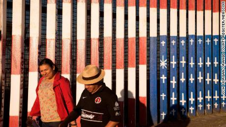 The painting -- shown not long after it was created -- is on the border fence in what is known as Friendship Circle, which is supervised by the US Border Patrol.