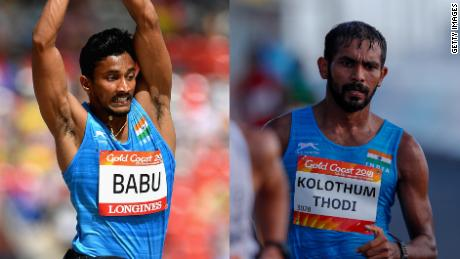 Rakesh Babu (left) and Irfan Kolothum Thodi (right) are seen competing at the 2018 Gold Coast Commonwealth Games.