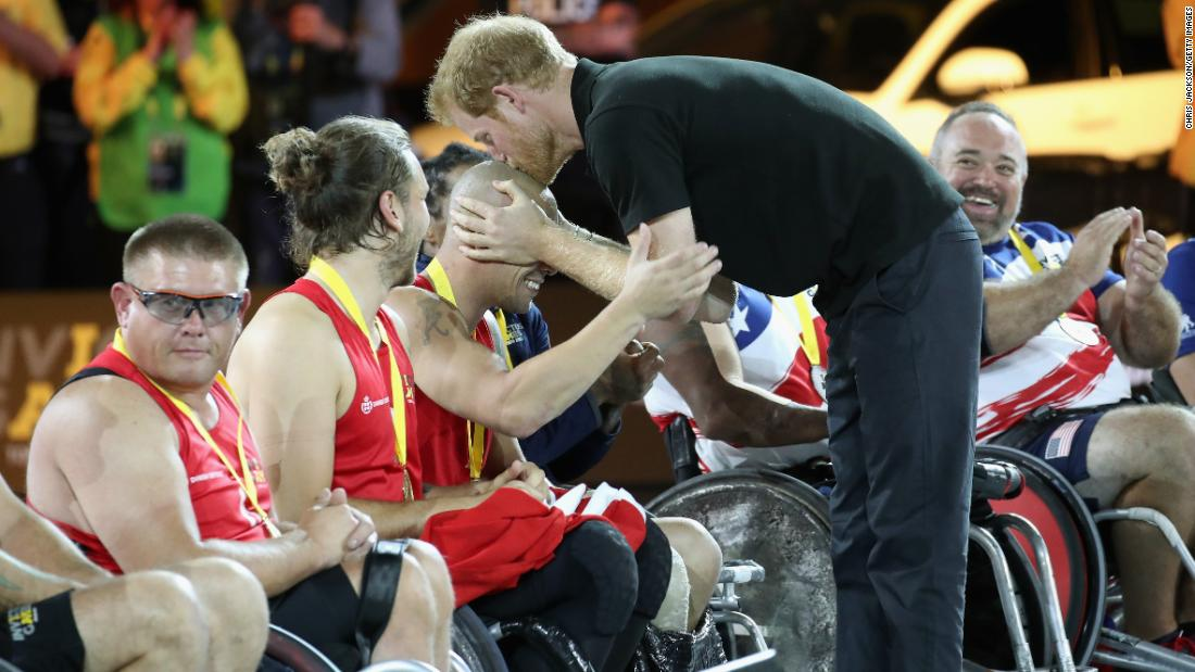 """Things happen quite quickly with Harry,"" says Jackson. After presenting a Norwegian wheelchair rugby player with a gold medal at last year's Invictus Games, Harry spontaneously kissed him on the head. ""That was a great moment -- and it makes a great picture,"" says Jackson. Toronto, Canada, September 2017."