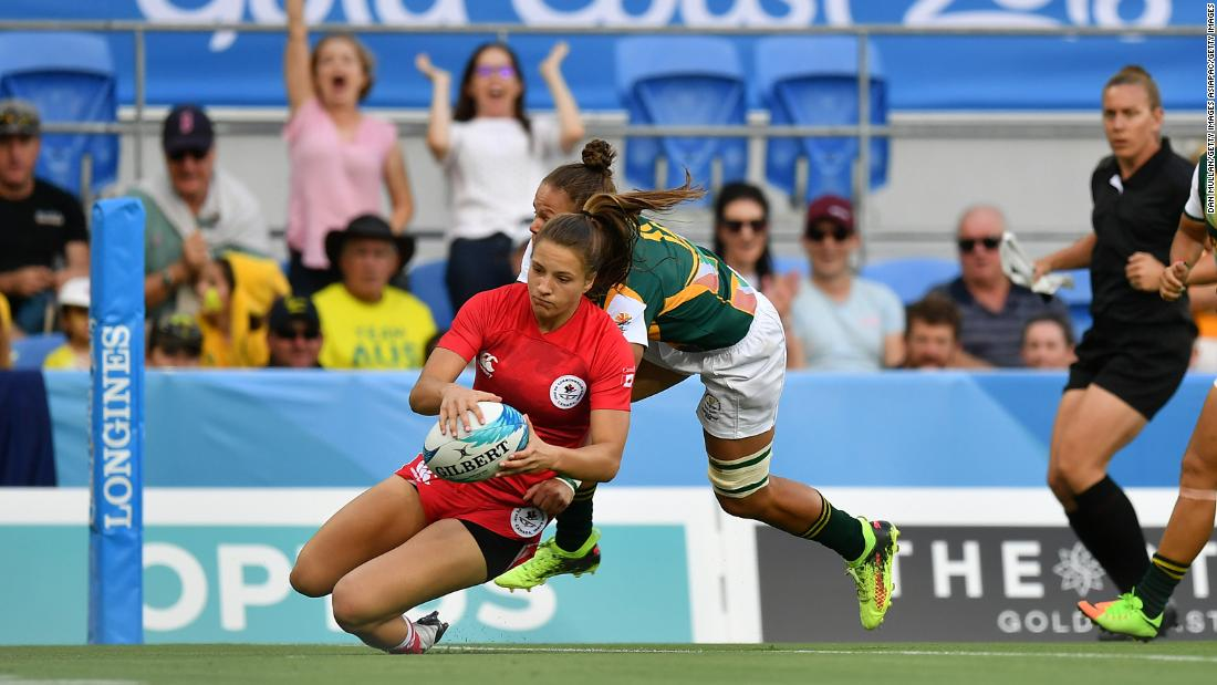 On Friday, Canada's Caroline Crossley made history by becoming the first women to score a try in a Commonwealth Games rugby sevens match, setting her country on its way to a 29-0 win over South Africa.