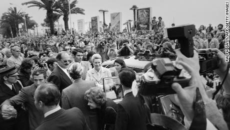 Princess Grace of Monaco faces cameras while she arrives to attend at the 33rd Cannes Film Festival, on May 15, 1980 in Cannes, the tribute to Alfred Hitchcock. (AFP PHOTO RALPH GATTI/AFP/Getty Images)