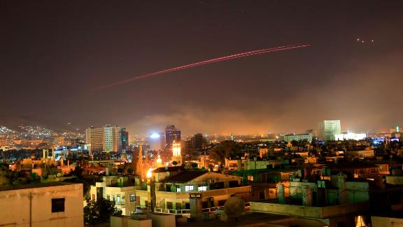 Damascus skies erupt with anti-aircraft fire as the U.S. launches an attack on Syria targeting different parts of the Syrian capital Damascus, Syria, early Saturday, April 14, 2018. Syria