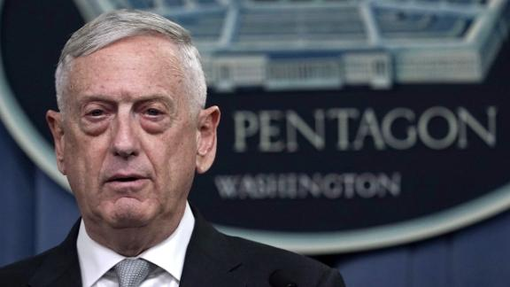 ARLINGTON, VA - APRIL 13:  U.S. Defense Secretary Jim Mattis briefs members of the media on Syria at the Pentagon April 13, 2018 in Arlington, Virginia. President Donald Trump has ordered a joint force strike on Syria with Britain and France over the recent suspected chemical attack by Syrian President Bashar al-Assad.  (Photo by Alex Wong/Getty Images)