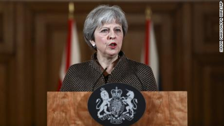 Syria conflict. Prime Minister Theresa May during a press conference in 10 Downing Street, London on the air strikes against Syria. Picture date: Saturday April 14, 2018. See PA story POLITICS Syria. Photo credit should read: Simon Dawson/PA Wire URN:35990439