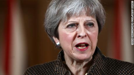 LONDON, ENGLAND - APRIL 14: British Prime Minister Theresa May attends a press conference at 10 Downing Street on April 14, 2018 in London, England. Early this morning the RAF launched four Royal Air Force Tornado GR4s carrying Storm Shadow missiles which were used to hit a military facility in Syria, as part of a coordinated joint action with the US and France, striking Syrian installations involved in the use of chemical weapons. (Photo by Simon Dawson/ WPA Pool/Getty Images)