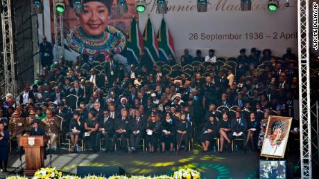 Family and officials gather at Soweto's Orlando stadium for the funeral service of anti-apartheid icon Winnie Madikizela-Mandela in Soweto, South Africa, on Saturday.