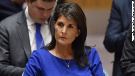"US Ambassador to the UN Nikki Haley listens during a UN Security Council meeting, at the United Nations Headquarters in New York, on April 14, 2018. The UN Security Council on Saturday opened a meeting at Russia's request to discuss military strikes carried out by the United States, France and Britain on Syria in response to a suspected chemical weapons attack. Russia circulated a draft resolution calling for condemnation of the military action, but Britain's ambassador said the strikes were ""both right and legal"" to alleviate humanitarian suffering in Syria.  / AFP PHOTO / HECTOR RETAMAL        (Photo credit should read HECTOR RETAMAL/AFP/Getty Images)"