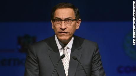 Peruvian President Martin Vizcarra delivers a speech during the inauguration of the III Americas Business Summit in Lima, on April 12, 2018. / AFP PHOTO / Luka GONZALES        (Photo credit should read LUKA GONZALES/AFP/Getty Images)
