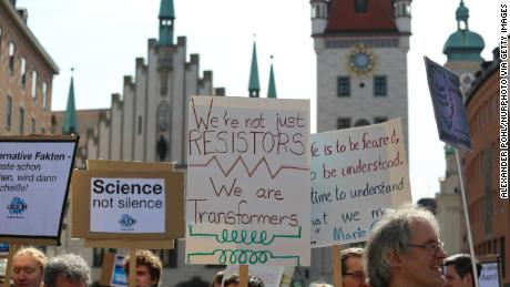 People joined the March for Science in Munich, Germany, on April 14, 2018.