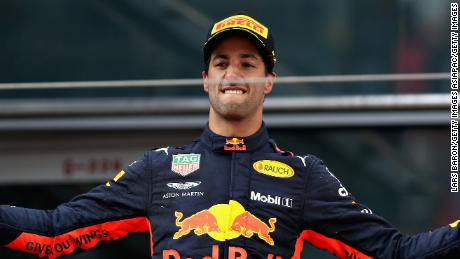 Race winner Daniel Ricciardo of Australia and Red Bull Racing celebrates on the podium after the Chinese Grand Prix in Shanghai.