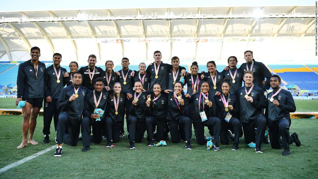 The New Zealand women's also won gold, beating hosts Australia to in the final. The two successful New Zealand teams are pictured together.