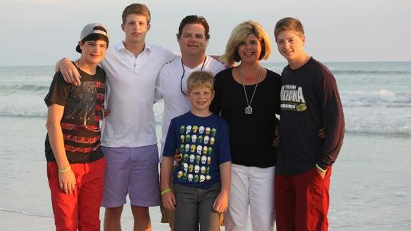 The Savage family: Justin, Nick, Mike, Matthew, Becky and Jack.