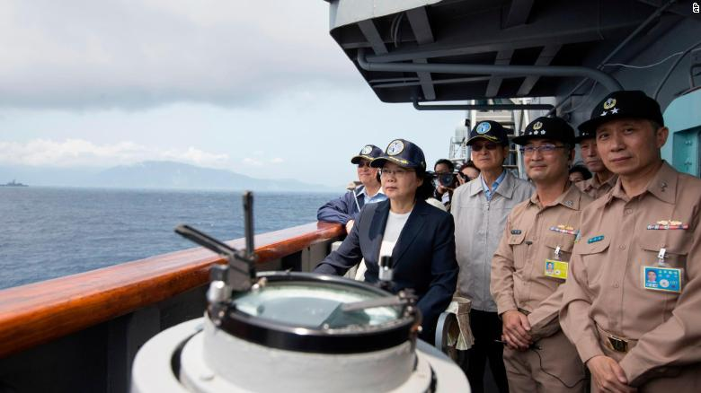 Taiwan's President Tsai Ing-wen inspects on a Kidd-class destroyer during a navy exercise on April 13.
