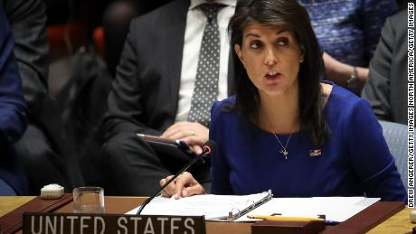 NEW YORK, NY - APRIL 14: United States Ambassador to the United Nations Nikki Haley speaks during a United Nations Security Council meeting concerning the situation in Syria, at United Nations headquarters, April 14, 2018 in New York City.  Yesterday the United States and European allies Britain and France launched airstrikes in Syria as punishment for Syrian President Bashar al-Assad's suspected role in last week's chemical weapons attacks that killed upwards of 40 people. (Photo by Drew Angerer/Getty Images)