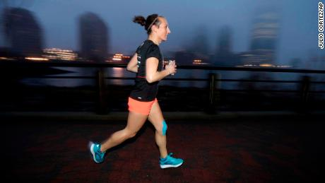 Amelia Gapin prepares for the Boston Marathon.