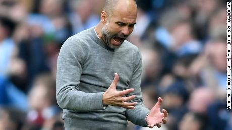 MANCHESTER, ENGLAND - APRIL 07:  Josep Guardiola, Manager of Manchester City reacts following a missed chance during the Premier League match between Manchester City and Manchester United at Etihad Stadium on April 7, 2018 in Manchester, England.  (Photo by Laurence Griffiths/Getty Images)
