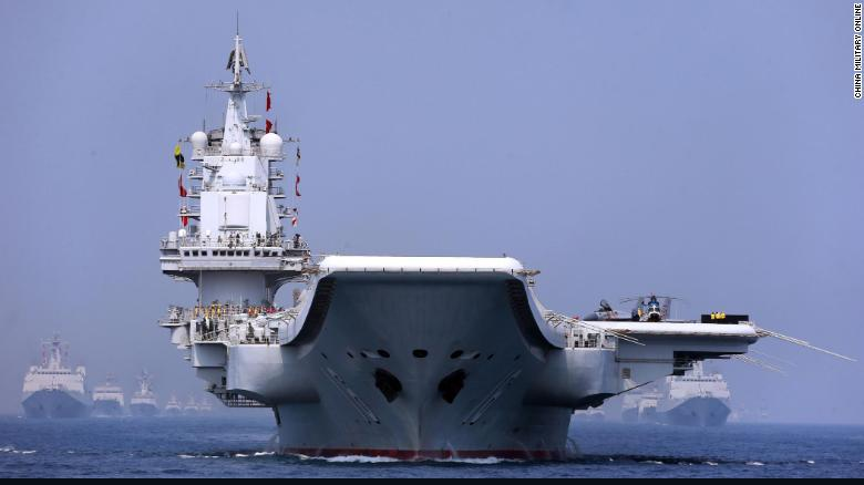 The aircraft carrier Liaoning in the maritime parade conducted by the Chinese PLA Navy in the South China Sea on April 12.