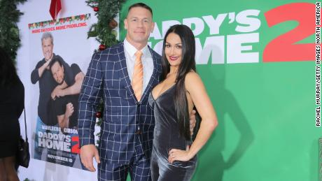 John Cena and Nikki Bella attend the Los Angeles Premiere of 'Daddy's Home 2' at Regency Village Theatre on November 5, 2017 in Westwood, California.  (Photo by Rachel Murray/Getty Images for Paramount Pictures)