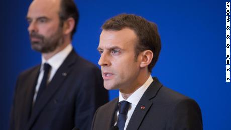 French President Emmanuel Macron delivers a speech at the Interior Minister in Paris attended by Prime Minister Edouard Philippe after a hostage situation in a supermarket in the village of Trebes, on March 23, 2018. / AFP PHOTO / POOL AND AFP PHOTO / PHILIPPE WOJAZER        (Photo credit should read PHILIPPE WOJAZER/AFP/Getty Images)