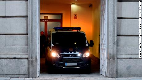 A police vehicle arrives at the Supreme Court in Madrid presumably carrying imprisoned Catalan former vice-president Oriol Junqueras for a hearing before the judge, on January 4, 2018. Spain's Supreme Court today considered an appeal by former Catalan vice president Oriol Junqueras against his jailing while he is investigated for rebellion and sedition over the region's independence drive. / AFP PHOTO / PIERRE-PHILIPPE MARCOU        (Photo credit should read PIERRE-PHILIPPE MARCOU/AFP/Getty Images)